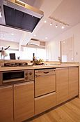 食洗機付 対面式キッチン。冷蔵庫・食器棚付