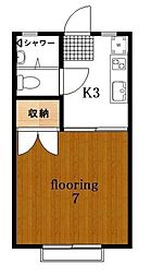東京都目黒区柿の木坂1丁目の賃貸アパートの間取り