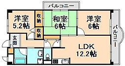 兵庫県伊丹市梅ノ木5丁目の賃貸マンションの間取り