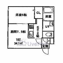 札幌市営東豊線 美園駅 徒歩8分の賃貸マンション 1階1DKの間取り