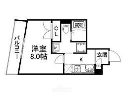 アンシェンヌ京都衣笠 4階1Kの間取り