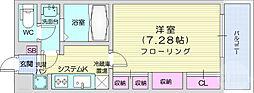 仙台市地下鉄東西線 連坊駅 徒歩7分の賃貸マンション 2階1Kの間取り