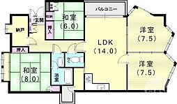 阪急神戸本線 芦屋川駅 徒歩5分の賃貸マンション 1階4SLDKの間取り
