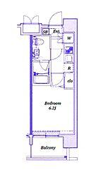 ラヴェニールステーションタワー 11階1Kの間取り