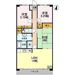 JR姫新線 余部駅 徒歩15分の賃貸マンション 3階3LDKの間取り