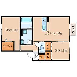 JR桜井線 桜井駅 徒歩20分の賃貸アパート 1階2LDKの間取り