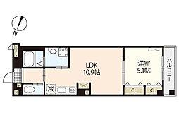 Aura横川 3階1LDKの間取り