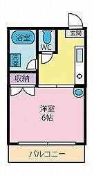 静岡県三島市西若町の賃貸アパートの間取り