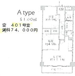 REBANGA武庫之荘アパートメント[401号室]の間取り