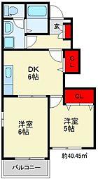 JR筑豊本線 桂川駅 徒歩20分の賃貸アパート 1階2DKの間取り
