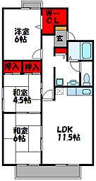 西鉄貝塚線 西鉄新宮駅 徒歩10分の賃貸アパート 2階3LDKの間取り