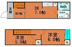 弁天2丁目 貸家[1階]の間取り