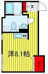 JR山手線 西日暮里駅 徒歩5分の賃貸マンション 5階ワンルームの間取り