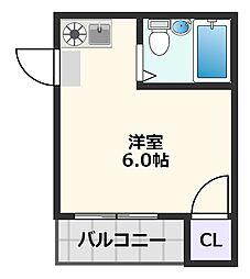 スカイ南清和園マンション 2階ワンルームの間取り