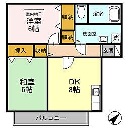 ハイツミヅホ[B202号室]の間取り