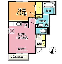 モダンヒル弐番館[1階]の間取り