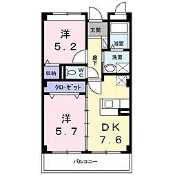 南海高野線 萩原天神駅 徒歩12分の賃貸マンション 3階2DKの間取り