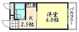 トゥリオーニ鶴橋[201号室]の間取り