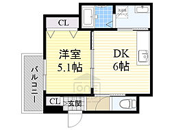 Osaka Metro今里筋線 緑橋駅 徒歩13分の賃貸アパート 1階1DKの間取り