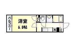 仙台市営南北線 愛宕橋駅 徒歩2分の賃貸マンション 1階1Kの間取り