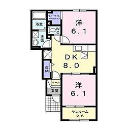 しなの鉄道 屋代高校前駅 徒歩14分の賃貸アパート 1階2DKの間取り
