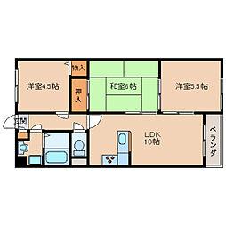 奈良県生駒市有里町の賃貸アパートの間取り