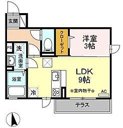 JR奥羽本線 山形駅 春日町下車 徒歩1分の賃貸アパート 1階1LDKの間取り