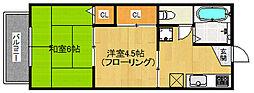福岡県福岡市城南区田島5丁目の賃貸アパートの間取り