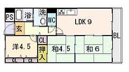 リープハーベン 八尾木[3階]の間取り