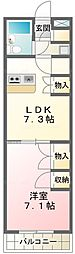ユタカローズガーデンA12番館[215号室]の間取り