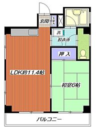神奈川県横浜市南区永楽町2丁目の賃貸マンションの間取り