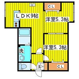 札幌市営東豊線 新道東駅 徒歩14分の賃貸アパート 3階2LDKの間取り