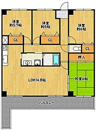 兵庫県神戸市北区花山東町の賃貸マンションの間取り