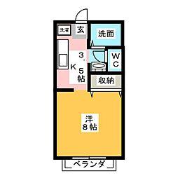 アンダンテ東岡山A棟[2階]の間取り