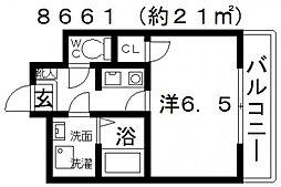 ASUKI COURT(アスキコート)[411号室号室]の間取り