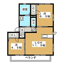 リベルテ藤枝[2階]の間取り