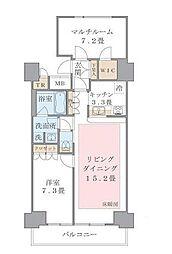 ブリリアイスト東雲キャナルコート(アパートメンツ東雲キャナル 11階1SLDKの間取り
