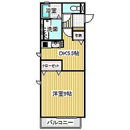 愛知県名古屋市中川区中郷3丁目の賃貸アパートの間取り