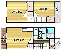 [テラスハウス] 大阪府摂津市三島2丁目 の賃貸【/】の間取り