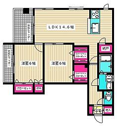 (仮称)西糀谷4丁目メゾン 3階2LDKの間取り
