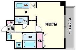ラ・ヴィラ阿倍野 4階ワンルームの間取り