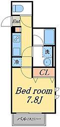 京成本線 堀切菖蒲園駅 徒歩3分の賃貸マンション 3階1Kの間取り