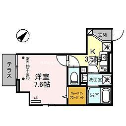 埼玉高速鉄道 浦和美園駅 徒歩12分の賃貸アパート 1階1Kの間取り