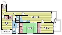大阪府豊中市本町8丁目の賃貸マンションの間取り
