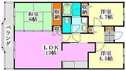 ブランシェ塚田[4階]の間取り