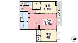 D-room IXI 369 B棟 2階2LDKの間取り