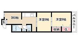 YMマンション[4B号室]の間取り
