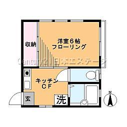 東京都大田区東雪谷3丁目の賃貸アパートの間取り