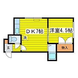 ウイングN15[402号室]の間取り