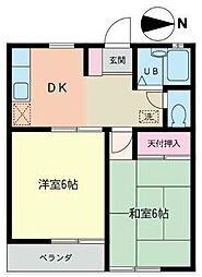 神奈川県横浜市磯子区杉田3丁目の賃貸アパートの間取り